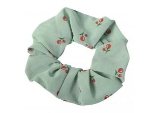 Světle zelená látková gumička do vlasů s třešněmi - Ø 10 cm