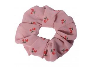 Růžová látková gumička do vlasů s třešněmi - Ø 10 cm