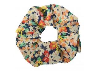 Látková květovaná gumička do vlasů - Ø 10 cm