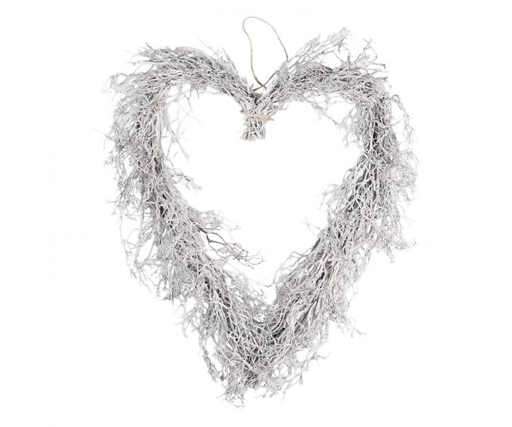 Závěsné stříbrné srdce z větviček - 50*8*57 cm