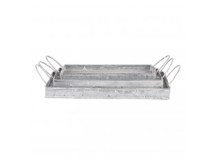 Stříbrné dekorativní podnosy (sada 3 ks) - 26*15*5 / 23*13*5 / 20*9*5 cm