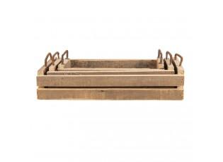 Dekorativní dřevěné tácy s kovovými uchy (3 ks) - 40*25*11 / 35*16*10 / 25*7*10 cm