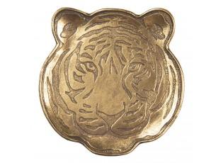 Zlatý dekorační tácek hlavy tygra - 14*1*14 cm