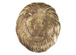 Zlatý dekorační tácek hlavy lva - 14*1*14 cm