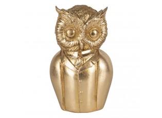 Zlatá dekorační soška sovy v obleku - 9*8*15 cm