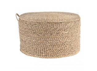 Přírodní pletený puf s háčkem - Ø 40*23 cm