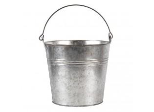 Šedivý dekorační plechový kyblík - Ø 18*16/26 cm