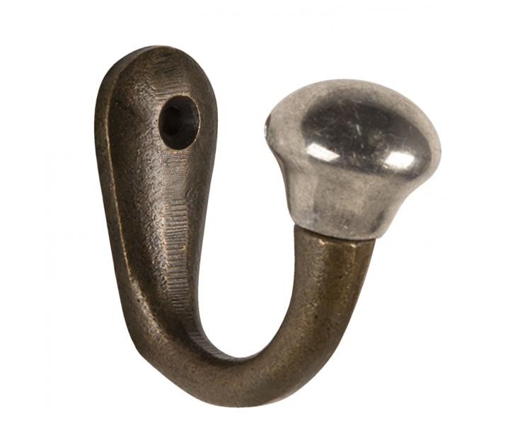 Nástěnný litinový háček se stříbrnou koncovkou - 2*5*5 cm