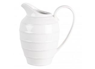 Bílý vroubkovaný džbán Romantic Intense - 20*15*20 cm