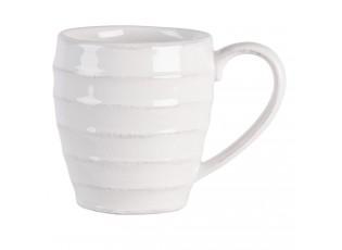 Bílý vroubkovaný hrneček Romantic Intense - 13*9*10 cm