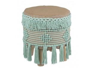 Béžovo - mintová stolička / podnožka Fringe mint - Ø 37*45cm