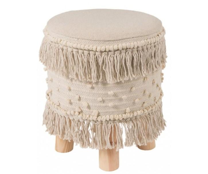 Stolička - podnožka Rond Ibiza Creme  - Ø 35 * 40 cm