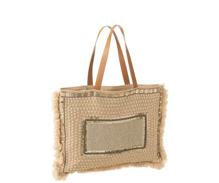 Béžová plážová taška s ozdůbkami a třásněmi Ibiza - 49*3*56cm