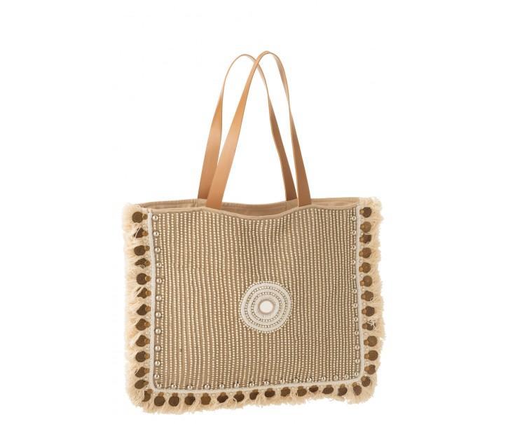 Béžová taška / kabela s ozdůbkami a třásněmi Ibiza coin - 49*3*58cm