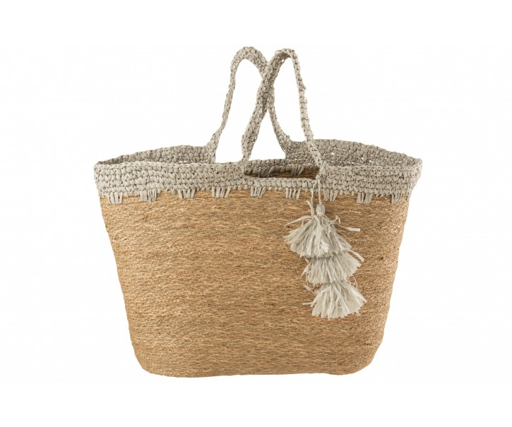 Přírodní taška / kabela z mořské trávy se šedým lemem Party - 48*25*58cm