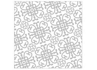 Bílo-stříbrné papírové ubrousky Ornament - 33*33 cm (20ks)