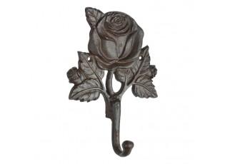 Litinový nástěnný háček s motivem růže Rose -