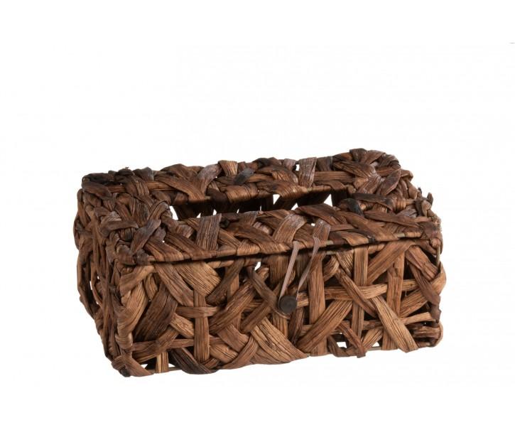 Hnědý přírodní zásobník na papírové kapesníky z rákosu -  26 * 14 *10 cm