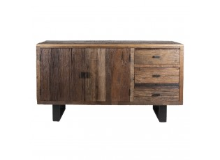 Dřevěná skříň Decor se šuplíky a skříňkou - 152*43*85 cm