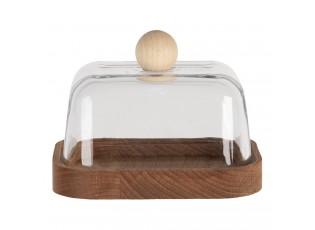 Dřevěná máslenka se skleněným poklopem - 14 cm