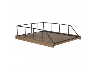 Dřevěná přihrádka s černou kovovou konstrukcí - 27*31*17 cm