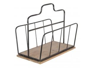 Černý kovový stojan na noviny na dřevěném podkladu - 34*23*28 cm
