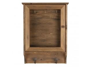 Dřevěná skříňka na klíče s věšákem - 30*8*40 cm
