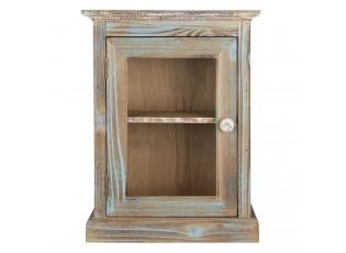 Hnědá prosklená skříň Bibi s modrou patinou a odřeninami - 30*15*40 cm