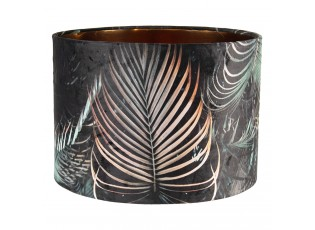 Tmavé sametové stínidlo Brisa s motivem palmových listů - Ø 34*24 cm