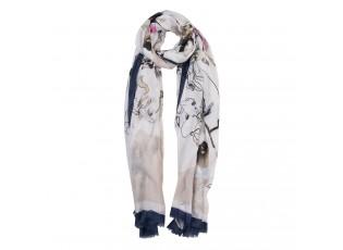 Modro béžový šátek s motivem květin a třásněmi - 85*180 cm