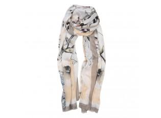 Hnědo béžový šátek s motivem květin - 85*180 cm