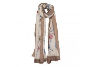Hnědo béžový šátek s květy - 85*180 cm