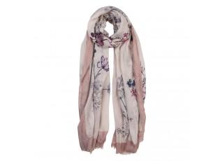 Růžovo béžový šátek s květy - 85*180 cm