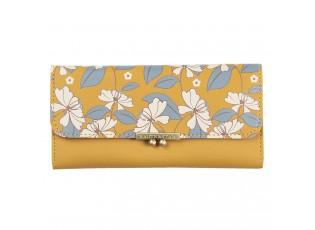 Okrová peněženka s květy Estar- 19*9 cm