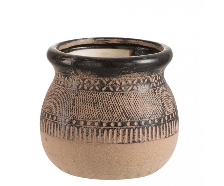 Hnědý keramický obal na květináč Pattern - Ø 19.5*17.5cm