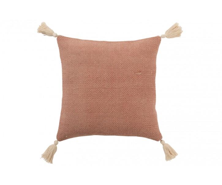 Staro-růžový bavlněný polštář se střapci Crocheted - 45*45 cm