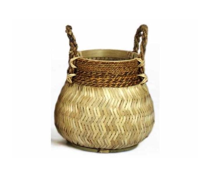 Přírodní bambusový košík s uchy - Ø34*24 cm