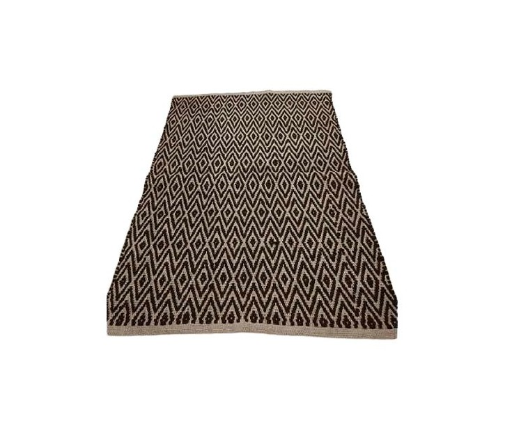 Přírodní jutový koberec s černým Diamond vzorem - 80*120cm