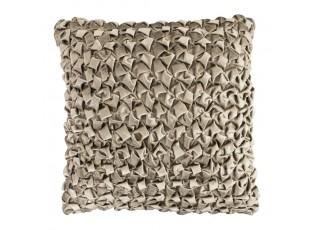 Šedo hnědý sametový mačkaný polštář  - 50*50cm