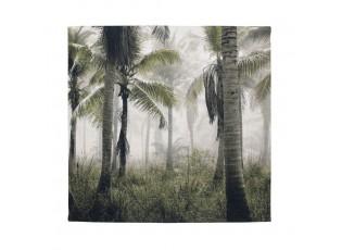 Nástěnný  sametový panel s palmami Palm green - 45*45*1cm