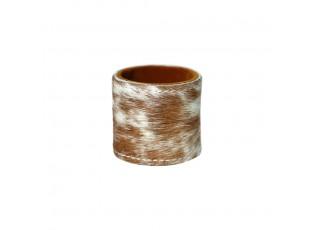Stojánek na kulaté podtácky z hovězí kůže Brown - 5*3cm