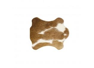 Podtácek z hovězí kůže / bílo hnědá - 11*10*0,3cm