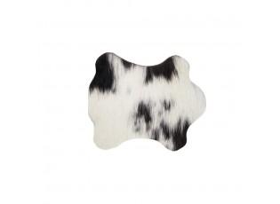 Podtácek z hovězí kůže / bílo černá - 11*10*0,3cm