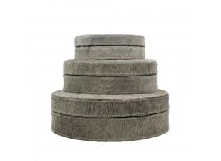Krabička na šperky z hovězí kůže / bílo šedá ( sada 3 ks) - 25,5*25,5*8cm