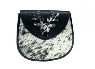 Černo bílá kabelka z hovězí kůže s jelenem - 24*10*21cm