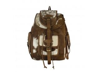 Hnědo bílý batoh z hovězí kůže - 30*13*39cm