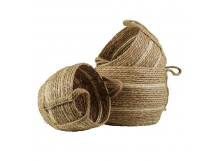 Hnědý pletený jutový košík Ecru ( sada 3 ks ) - 23*18,5*18cm/28*23*20cm/33*26*24cm