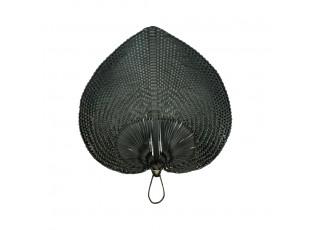 Černý vyplétaný srdcovitý dekorativní vějíř - 56 cm