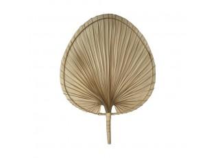 Světle hnědý vyplétaný srdcovitý dekorativní vějíř - 54 cm