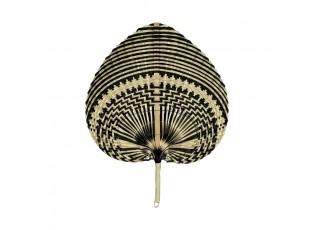 Hnědo černý vyplétaný srdcovitý dekorativní vějíř - 40 cm